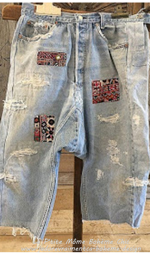 French Cut Jeans with Indian Embroidered Patches, Gypsy Shoot OAK Piece