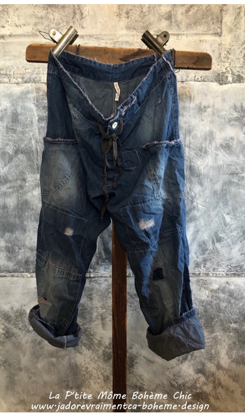 OKeefe Denims Jean in Indigo with Hand Age, Distressing and Mending, Button Fly and Drawstring Waist
