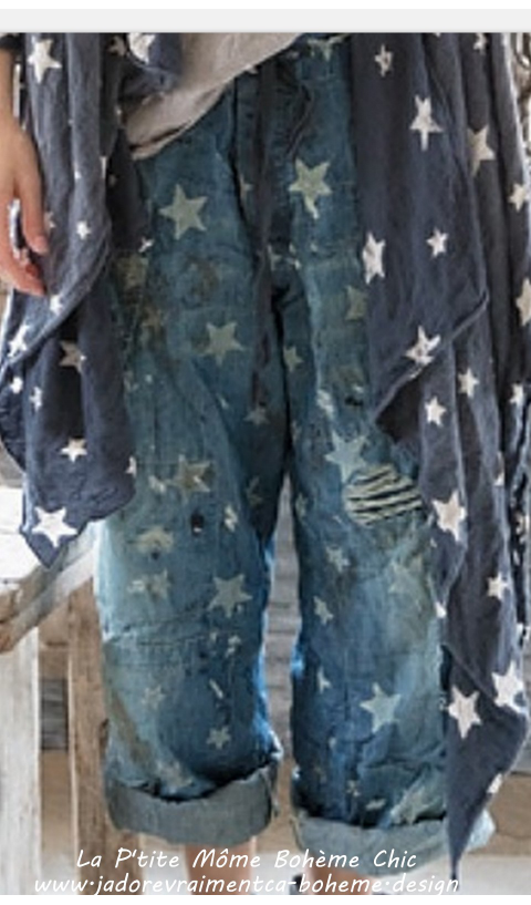 OKeefe Denims Jean in Galaxy Stars with Hand Age, Distressing and Mending, Button Fly and Drawstring Waist