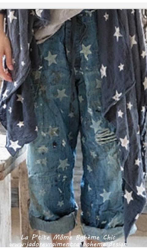 Okeefe Un Jean Denim en Galaxy Faded Star Coupe Droite, Très Facile à Mettre