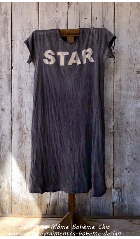 Bold Star T Dress  in Ozzy Boyfriend Cut