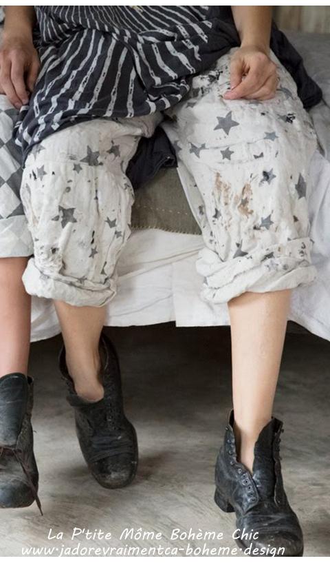 Okeefe Panta Galaxy en Rockstar Lin Imprmé Etoiles Coupe Droite, Très Facile à Mettre