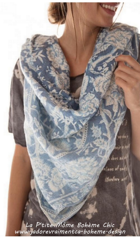 Foulard Sunfaded en Neela Crush En Lin Avec Impression Main