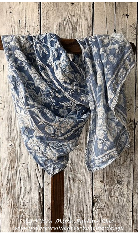 Hand Printed Linen Scarf with Sunfading in Neela Crush