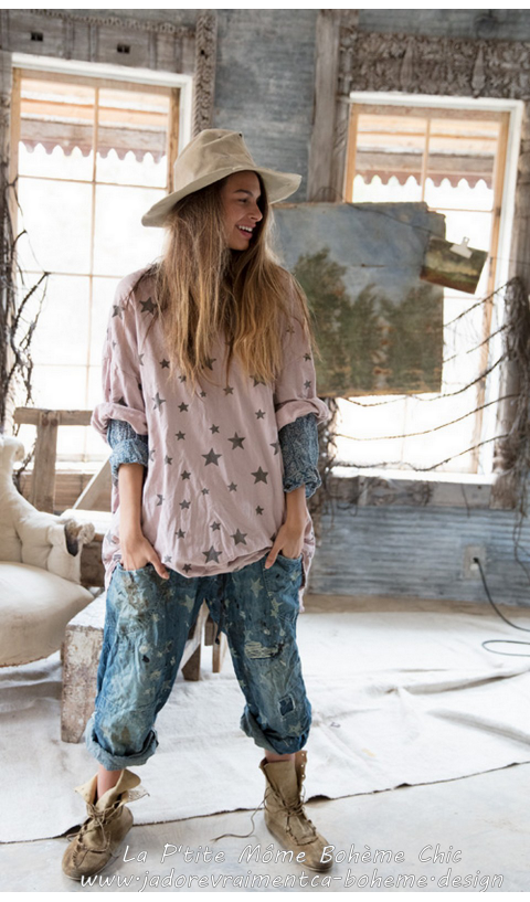 Oversize Francis Pull-Over en Halley/rose pâle....Manches Courtes