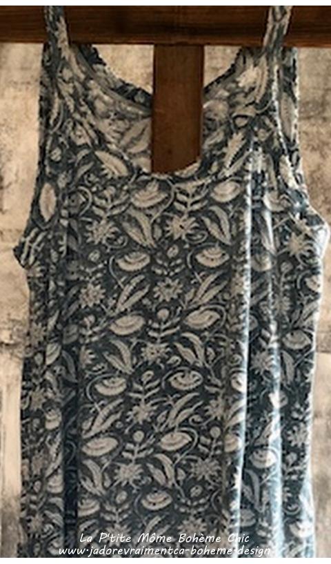 Lana Robe Tee-Shirt en Demy Bleu Ciel Ensoleillé, Sans Manches