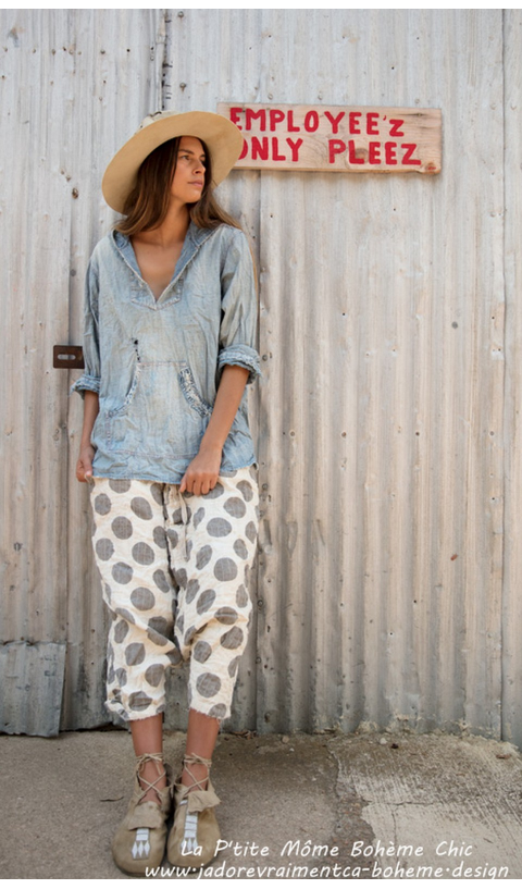 Quilted Linen Frankie Pants in Go Go Dot with Distressing and Mending