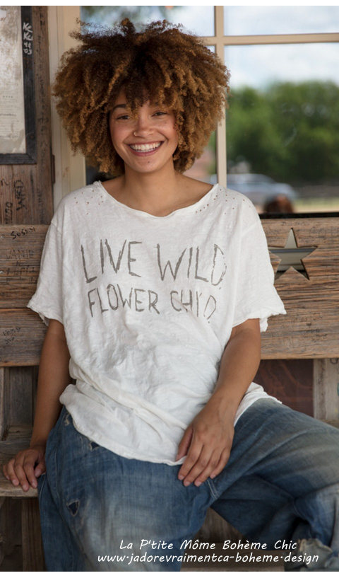 Live Wild Tee-Shirt Flower Child In Boyfriend Cut