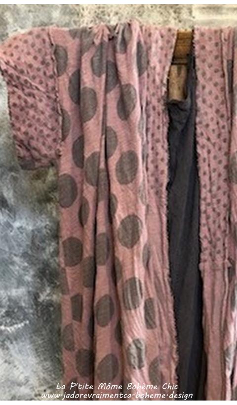 Teemono Kimono ou Redingote En Freckles (Vieux Rose à Pois