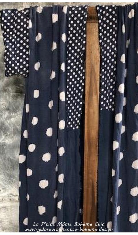 Teemono Kimono ou Redingote En Japan Bleu Profond à Pois