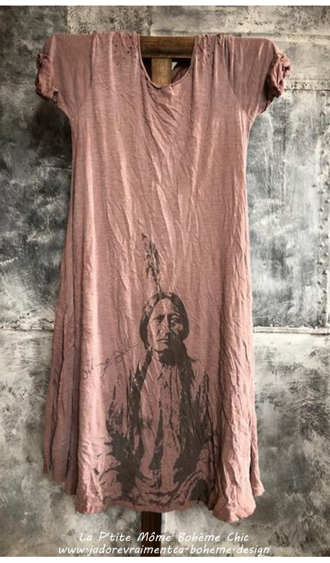 Sitting Bull Tee-Dress In  Beautiful Preston