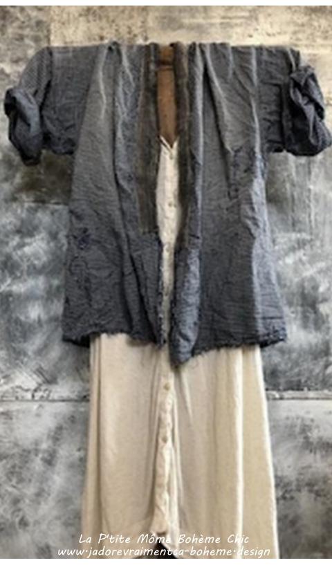 Noriyo Kimono En Boro-Check Avec Patch