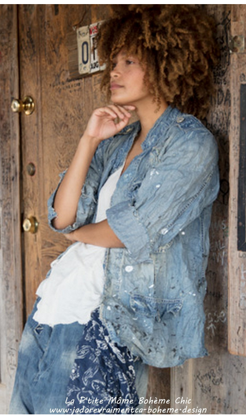 Love Militia Denim Veste-Chemise en Artclass On Adore
