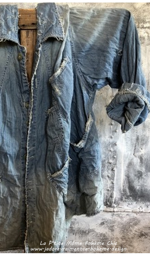 Aelvoet Workwear Veste En Washed Indigo Pleins De Poches