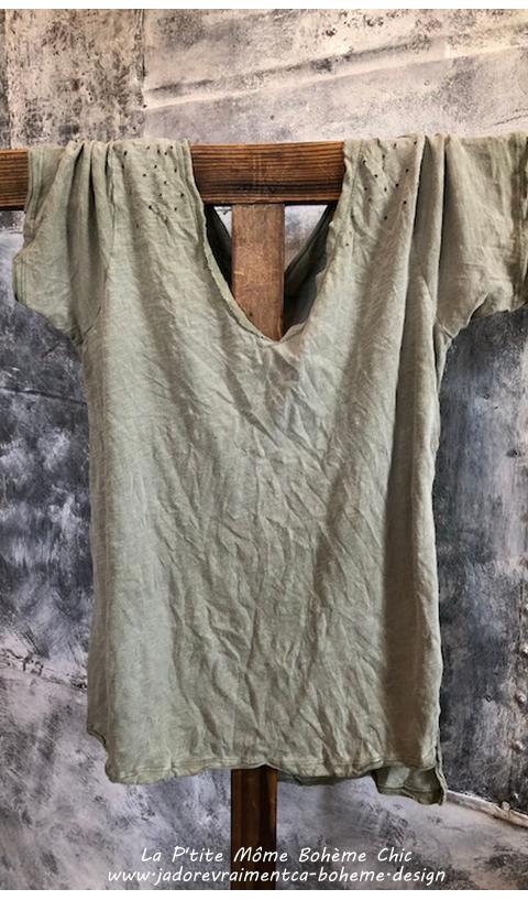 Venice Tee Shirt en Peace avec Decolleté En V