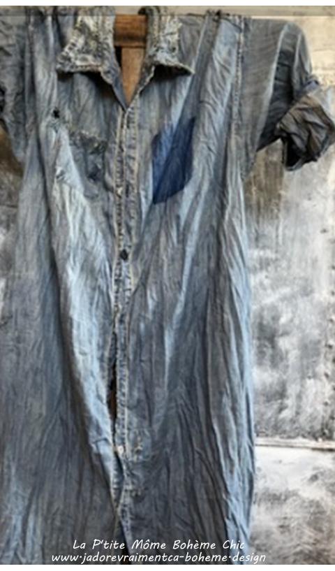 Adison Robe-Chemise Denim En Indigo Jeans On L'adore