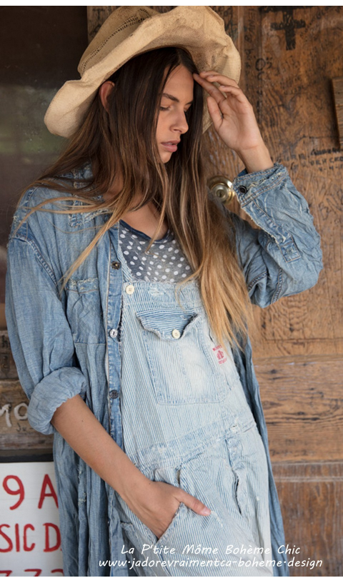 Adison Dress Denim In Indigo with Mixed Buttons and Hand Mending