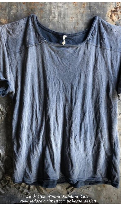 Rocky Mountain Tee Top In Faded Boro