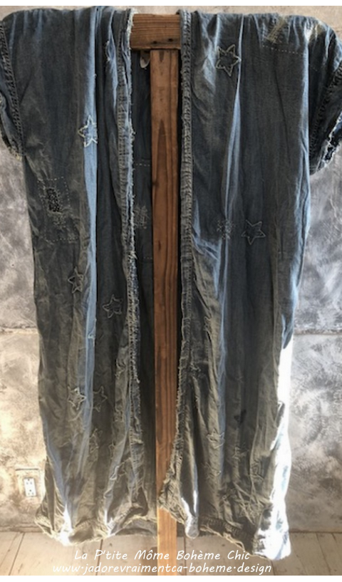 Dashi Kimono Denim Etoiles Brodé Mains & Patch