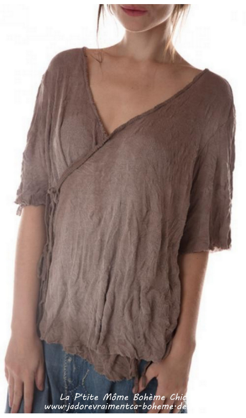 Origami Wrap Blouse In Clay With Distressing