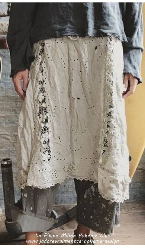 Coronado Robe Lin Ajouré & Broderies En Antique White (Blanc Grège)