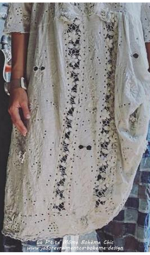 Coronado Linen Dress In A.White with Embroidery and Scalloped Edging