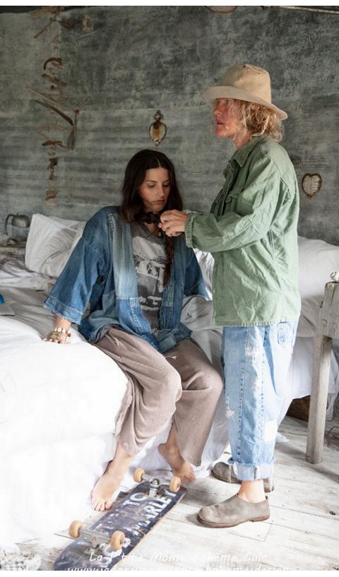 Noriyo Jolie Veste en Denim & Patch à Porter Ouvert