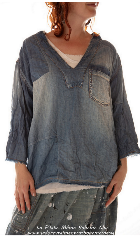 Basil Pullover Denim En Washed Indigo & Poche