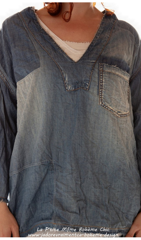 Basil Pullover Denim In Washed Indigo & Pocket