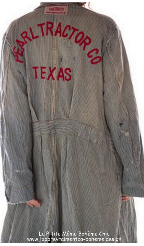 MP Tractor Co. Work Jacket In Railroad With Monogram, Patching,
