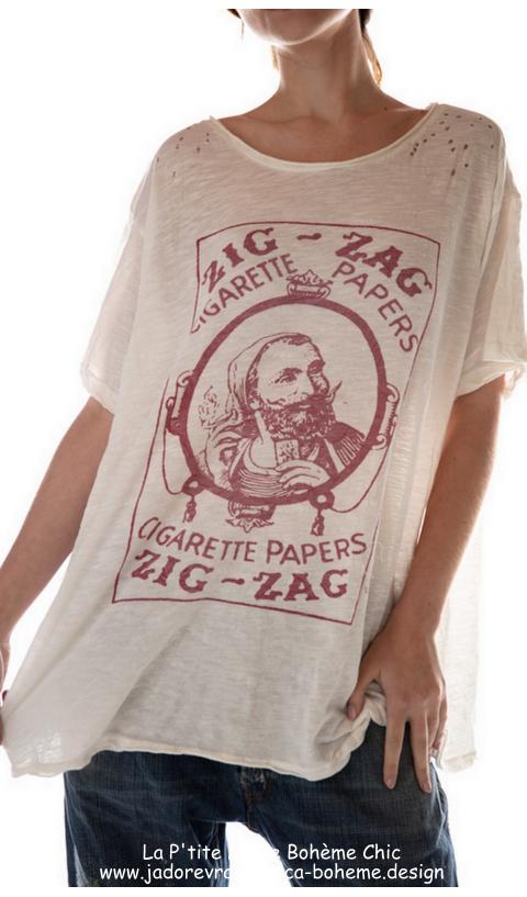 Zig-Zag Tee-Shirt En Amsterdam Imprimé Coupe Boyfriend