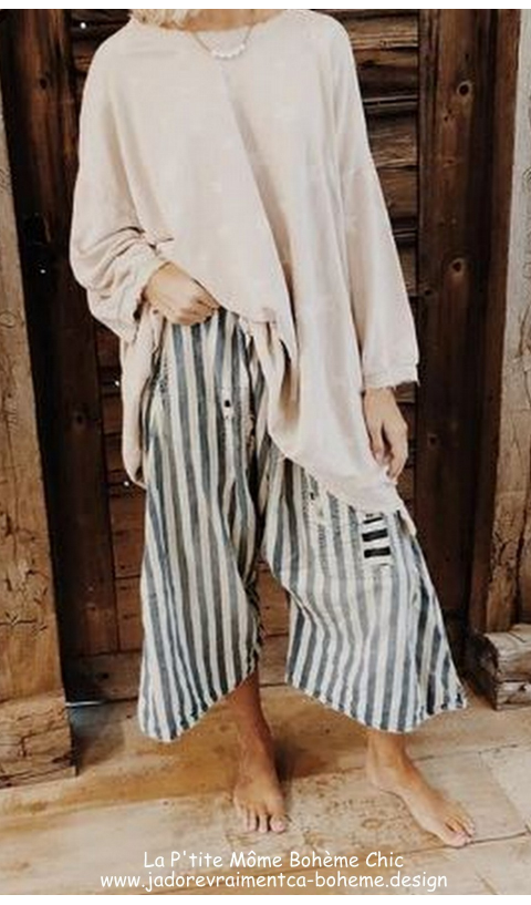 Jai Wide Leg Trouser in Big Hickory With Drawstring Waist and Distressing