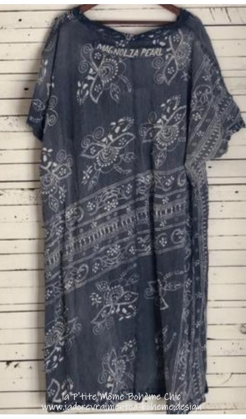 Bali Beau Robe T-Shirt imprimé en Indigo
