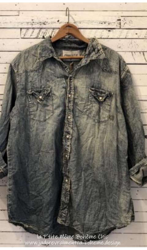 Denim Snap Shirt In Washed Indigo with Fading