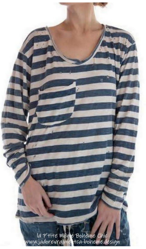 Nautical Sofiane Tee-Shirt Oversize En Indigo Rayé