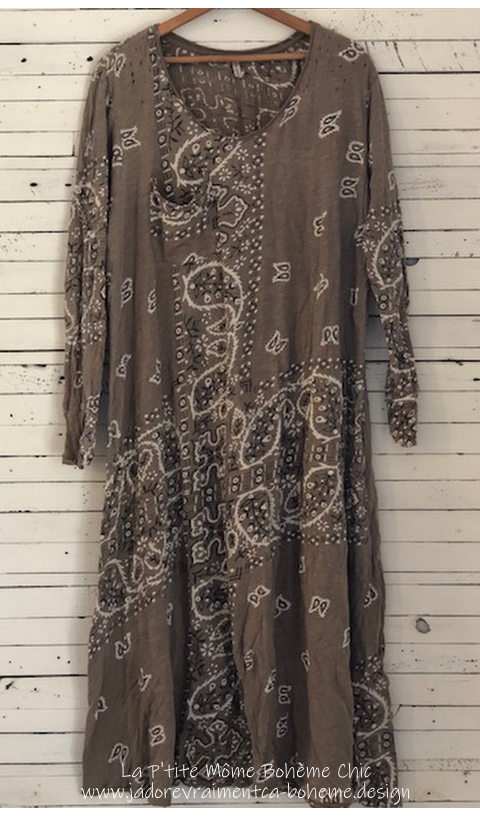 Silas Paisley Sofiane T Dress In Clay with Pocket