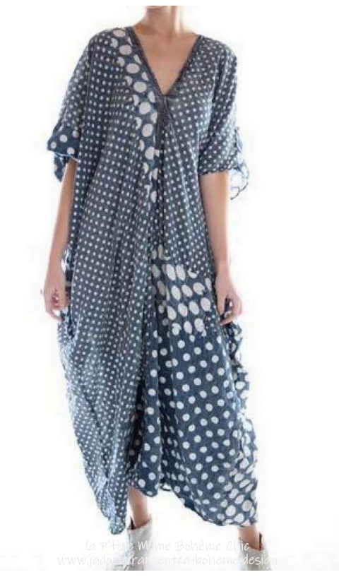 Veda Kaftan with Pockets In Tenshi Dot, Hand Mending, Distressing and Fading