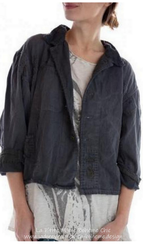 Twill Hey Joe Jacket In Midnight With Cotton Linen Collar, Patching
