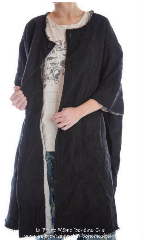 Quilted Fine Wool Kimi Coat In Pinstripe with Raw Edges, Snap Closures