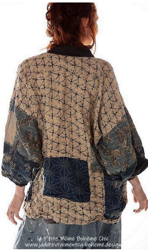 Beatrix Short Kimono,with Hand Sewn Indigo Inspired Patches