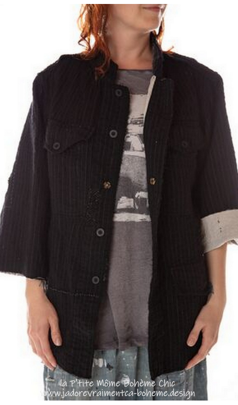 Love Militia Coat In Pinstripe, Fine Wool