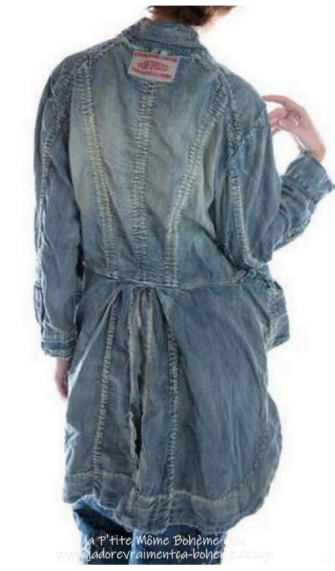 Sidra Tuxedo Coat In Washed Indigo With Small Front Pockets, Big Snaps
