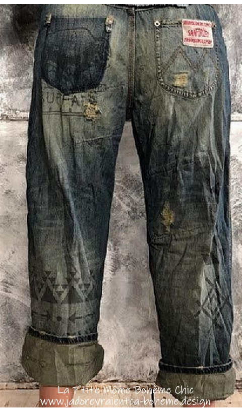 Denim Ranchero Jeans with Sitting Bull Graphic Print