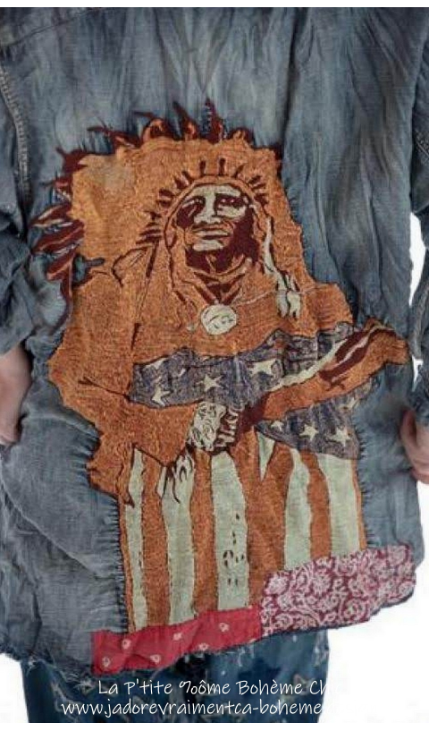 America Indian Adison Chemise Brodé Main Denim En Washed Indigo Broderie Sur Le Dos