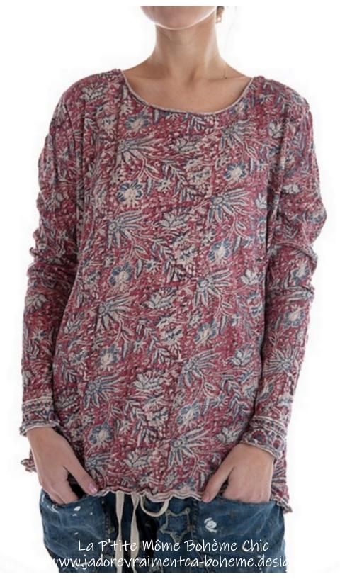 Dylan T-Shirt En Khlo En Block Print Fait Mains