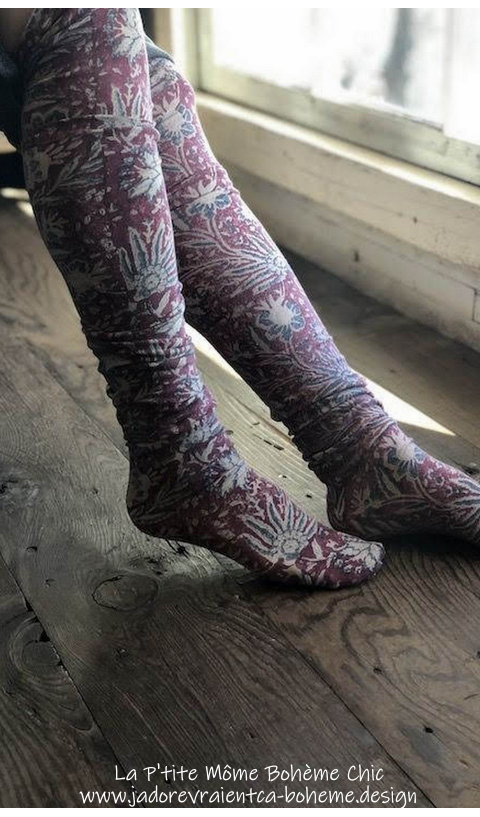 Karolina socks, Over-knees In Khlo Hand Blockprinted