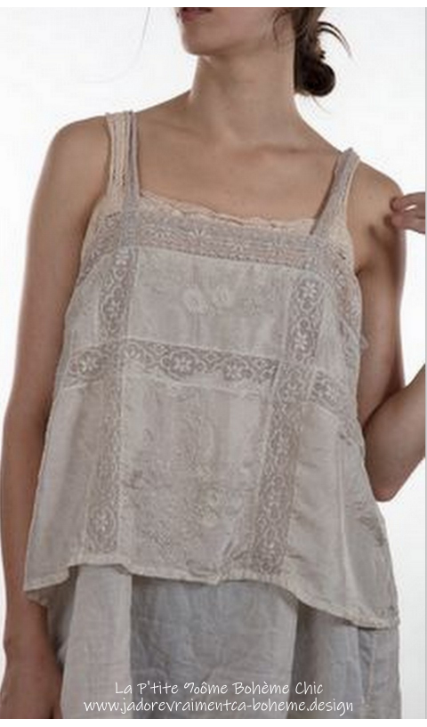 Poesy Tank in silk and embroided