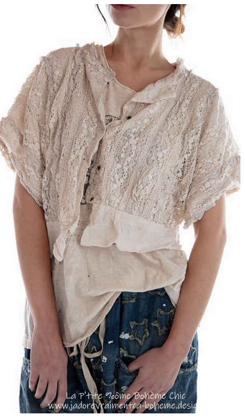 Marburger-Cropped Blouse Lace*Reversible