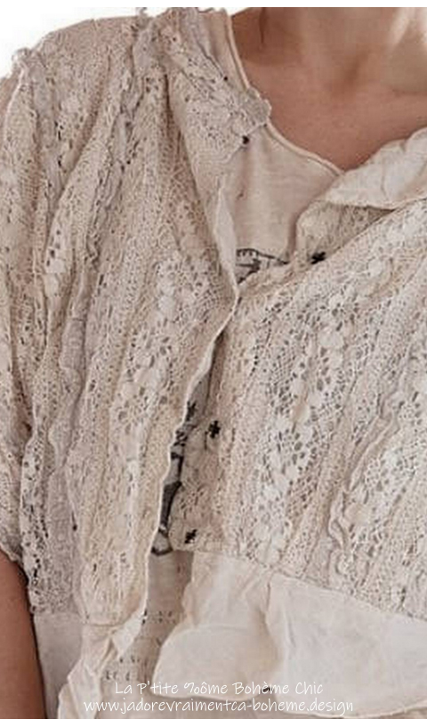 Marburger-Cropped Blouse in Antique White Lace*Reversible