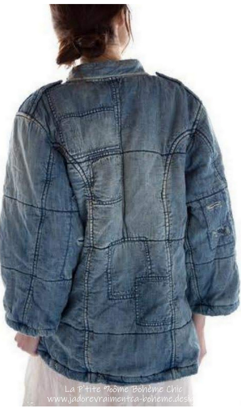 Love Militia Puff Jacket Denim In Washed Indigo